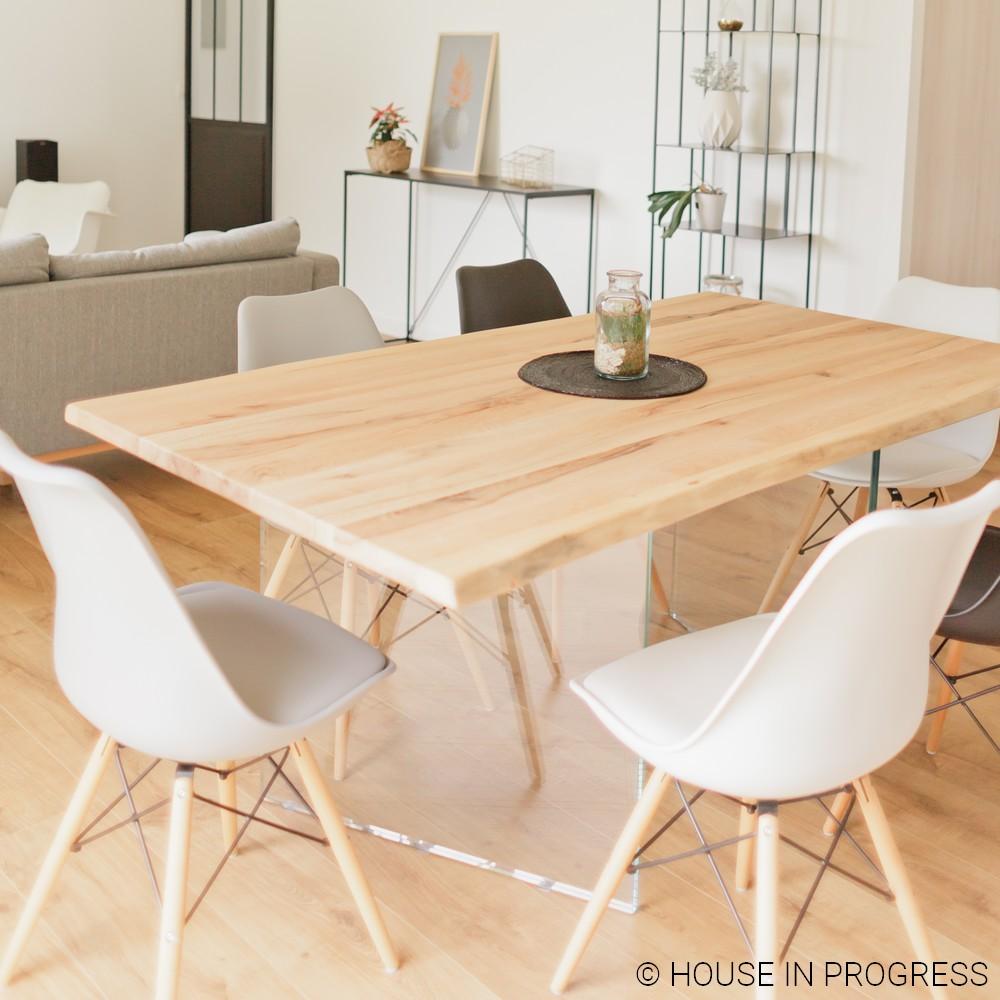 table plateau bois brut et pieds en verre house in progress. Black Bedroom Furniture Sets. Home Design Ideas